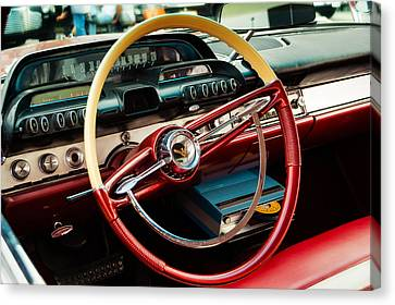 1960 Desoto Fireflite Coupe Steering Wheel And Dash Canvas Print by Jon Woodhams