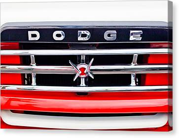 Grill Canvas Print - 1960 Dodge Truck Grille Emblem by Jill Reger