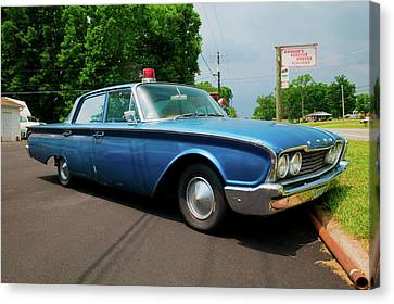 1960 Ford Police Car In Mount Airy Canvas Print