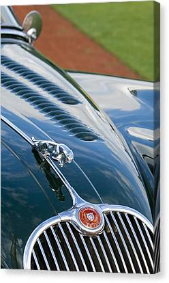 1960 Jaguar Xk 150s Fhc Hood Ornament 3 Canvas Print by Jill Reger