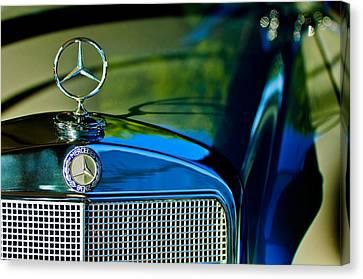 1960 Mercedes-benz 220 Se Convertible Hood Ornament Canvas Print by Jill Reger