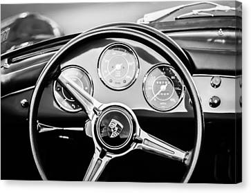 1960 Porsche 356 B Roadster Steering Wheel Emblem -1096bw Canvas Print by Jill Reger