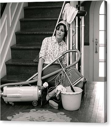 Vacuum Canvas Print - 1960s 1970s Exhausted Housewife Sitting by Vintage Images