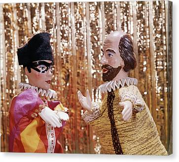 Gold Lame Canvas Print - 1960s 1970s Hand Puppets Show Harlequin by Vintage Images