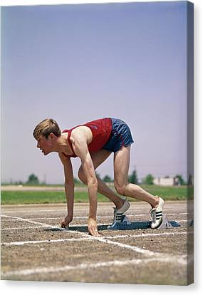 Sprinter Canvas Print - 1960s 1970s Profile Athlete Runner by Vintage Images