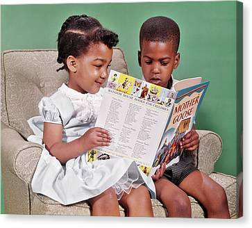 Mother Goose Canvas Print - 1960s African American Boy And Girl by Vintage Images