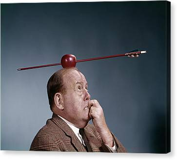 Survive Canvas Print - 1960s Anxious Business Man Biting by Vintage Images