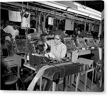 Component Canvas Print - 1960s Assembly Line For Wiring Of Color by Vintage Images