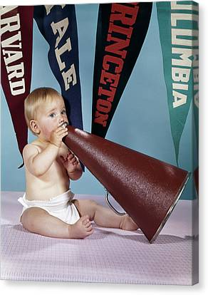 Cheerleaders Canvas Print - 1960s Baby Shouting Into Cheerleader by Vintage Images