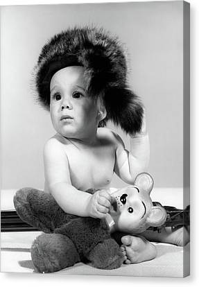 Raccoon Canvas Print - 1960s Baby Wearing Coonskin Hat by Vintage Images