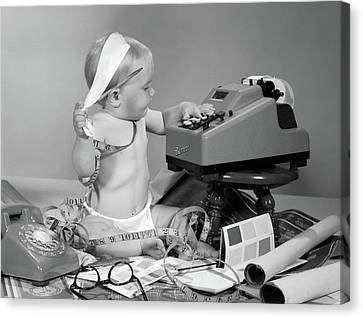 Copy Machine Canvas Print - 1960s Baby With Adding Machine by Vintage Images
