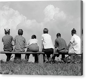 Observer Canvas Print - 1960s Back View Of Six Anonymous Boy by Vintage Images