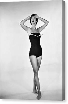 Swim Suit Canvas Print - 1960s Bathing Suit Design by Underwood Archives