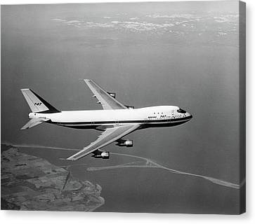 747 Canvas Print - 1960s Boeing 747 In Flight by Vintage Images