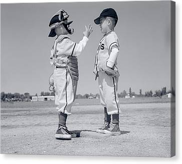 Old Pitcher Canvas Print - 1960s Boy Little Leaguer Pitcher by Vintage Images