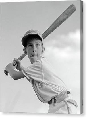 Anticipation Canvas Print - 1960s Boy Playing Baseball Holding Bat by Vintage Images