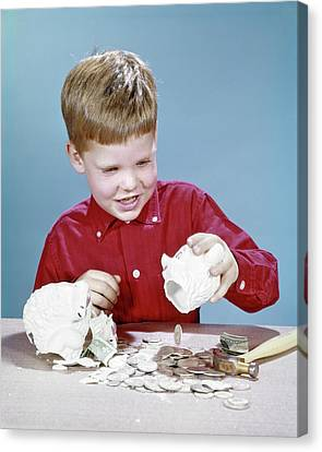 Piggy Bank Canvas Print - 1960s Boy Wearing Red Shirt Breaking by Vintage Images