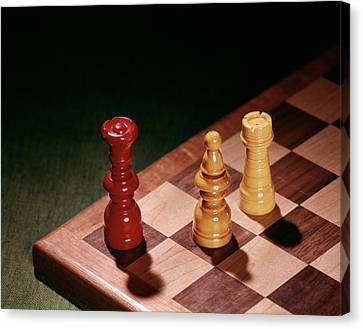 Checkmate Canvas Print - 1960s Chess Pieces Checkmate Board Game by Vintage Images