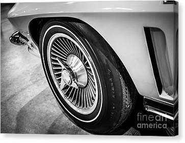 Antique Automobiles Canvas Print - 1960's Chevrolet Corvette C2 Spinner Wheel by Paul Velgos