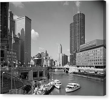 Chicago River Canvas Print - 1960s Chicago River From Michigan by Vintage Images
