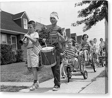 Tricycle Canvas Print - 1960s Children In Fourth Of July Parade by Vintage Images