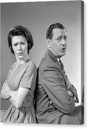 Communication Problems Canvas Print - 1960s Couple Seated Back-to-back by Vintage Images