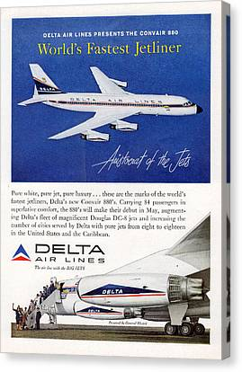1960s Delta Convair 880 Ad Canvas Print