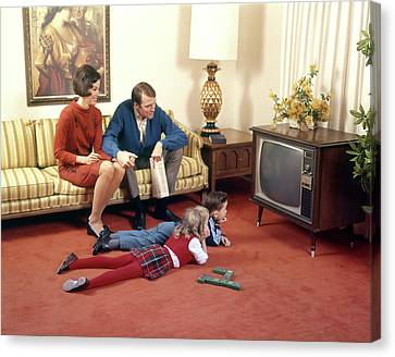 Observer Canvas Print - 1960s Family In Living Room Watching Tv by Vintage Images