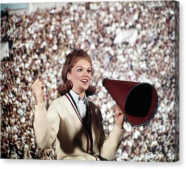 Cheerleaders Canvas Print - 1960s Female Cheerleader Cheering Red by Vintage Images
