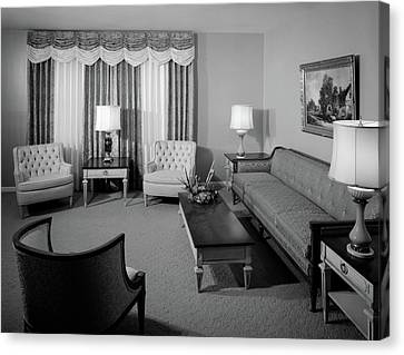 Empty Chairs Canvas Print - 1960s Formal Living Room Interior by Vintage Images