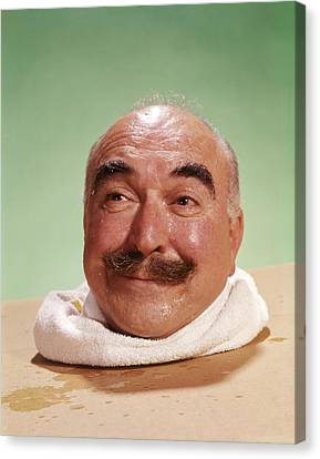 Sweating Canvas Print - 1960s Head Of Smiling Bald Man by Vintage Images