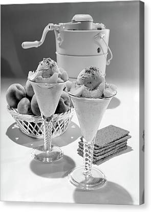 Copy Machine Canvas Print - 1960s Ice Cream Machine Home Made Peach by Vintage Images