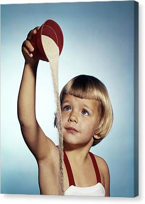 Beach Pails Canvas Print - 1960s Little Blond Girl Wearing Bathing by Vintage Images