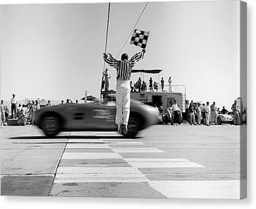 Observer Canvas Print - 1960s Man Jumping Waving Checkered Flag by Vintage Images