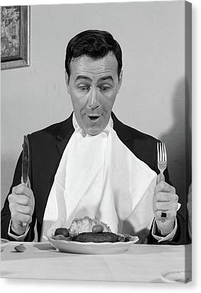 Anticipation Canvas Print - 1960s Man Sitting At Table Ready To Eat by Vintage Images