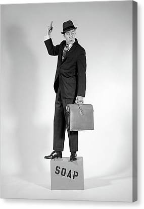 Pitching Canvas Print - 1960s Man Standing On Soap Box Holding by Vintage Images