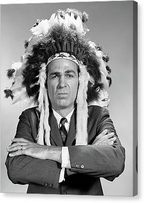 Native American Clothes Canvas Print - 1960s Man Wearing Native American by Vintage Images