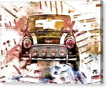 Fog Canvas Print - 1960s Mini Cooper by David Ridley