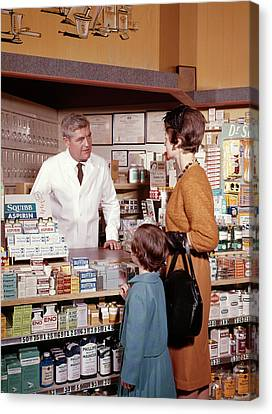 Drugstore Canvas Print - 1960s Mother And Daughter In Pharmacy by Vintage Images