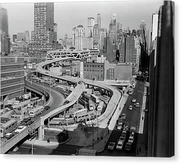 Old Bus Stations Canvas Print - 1960s Overhead Of Port Authority by Vintage Images