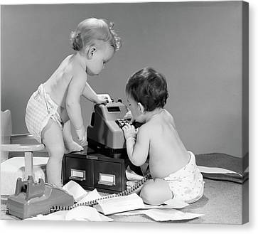 Copy Machine Canvas Print - 1960s Pair Of Babies Around Adding by Vintage Images