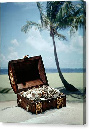 Good Fortune Canvas Print - 1960s Pirate Treasure Chest Full Coins by Vintage Images