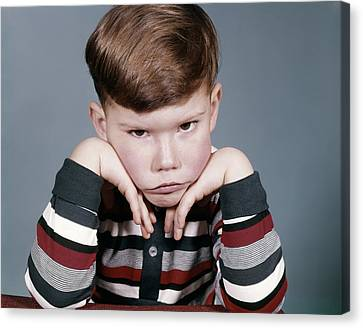 Sour Canvas Print - 1960s Portrait Sad Angry Little Boy by Vintage Images