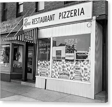 Take-out Canvas Print - 1960s Restaurant Pizzeria Storefront by Vintage Images