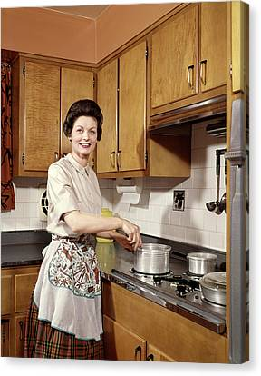 Stainless Steel Canvas Print - 1960s Smiling Woman Housewife Wearing by Vintage Images