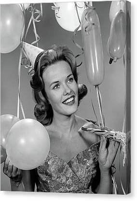 Happy New Year Canvas Print - 1960s Smiling Young Woman by Vintage Images