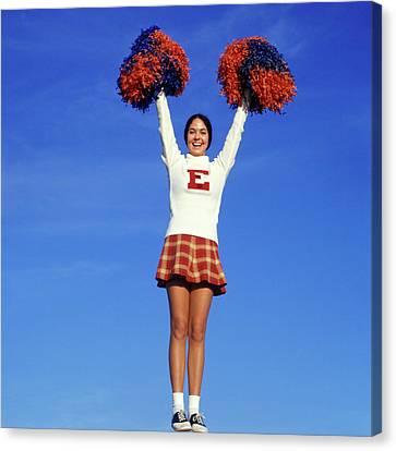 Cheerleaders Canvas Print - 1960s Teenage Girl Cheerleader Full by Vintage Images