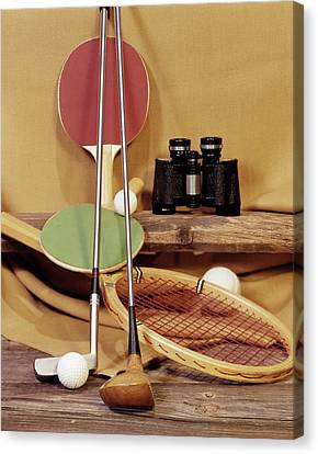 Racquet Canvas Print - 1960s Tennis Racket Racquet Table by Vintage Images
