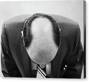 Black Top Canvas Print - 1960s Top Of Mans Bald Head Can See by Vintage Images