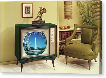 Tv Set Canvas Print - 1960s Tv And Chair In Living Room by Vintage Images